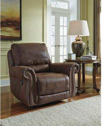 "Benchcraft Breville Fbc-8009rec-esp-gg 40"" Rocker Recliner With Pillow Back Cushions Rocker Feature Recessed Lever Recliner And Faux Leather Upholstery In"