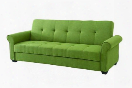 "Buxton Collection G166-s 88"" Convertible Sleeper Sofa With Rolled Arms Storage Underneath Seat Tufted Design Tapered Legs And Fabric Upholstery In Green"