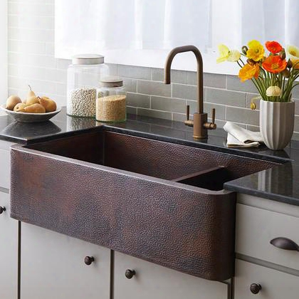 "Copper Kitchen Sinks Collection Cpk274 40"" Farmhouse Duet Pro Kitchen Sink With 3.5"" Drain Opening Double Bowl 16 Gauge Hand Hammered And Recycled Copper"
