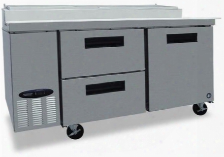 "Cpt67-d2 67"" Commercial Series Pizza Prep Table With 2 Drawers 1 Door Stainless Steel Exterior And Interior 19.9 Cu. Ft. Capacity And 2 Epoxy Coated"