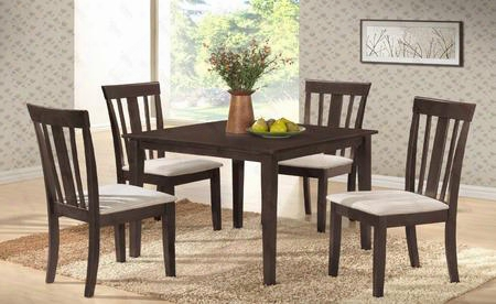 "G0037tc 5 Pc Dining Room Set With 36"" Dining Table + 4 Side Chairs In Wenge"