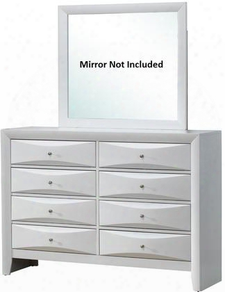 "G1570-d 59"" Dresser With 8 Drawers Silver Metal Hardware Beveled Drawer Fronts And Wood Veneer Construction In White"