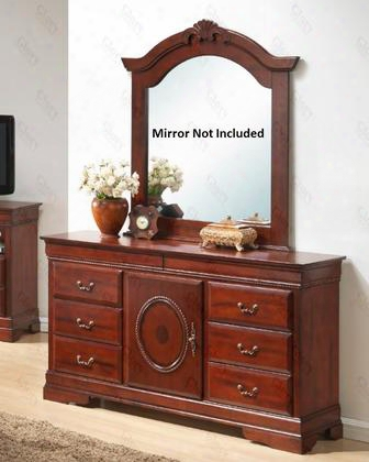 "G2600-d 60"" Dresser With 8 Dovetailed Drawers 1 Door Metal Hardware And Wood Veneers Construction In Cherry"