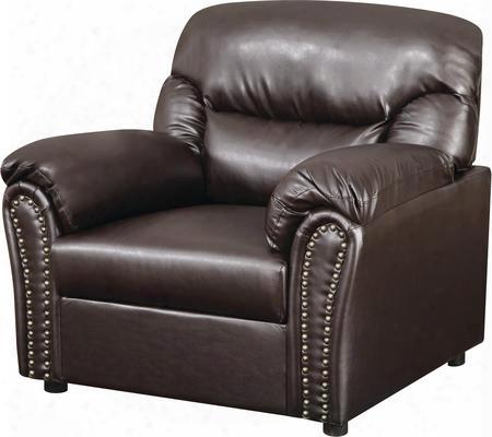 """G265-c 39"""" Living Room Chair With Nailhead Accents Plush Paded Arms Removable Back Split Back Cushions And Bonded Leather Upholstery In Chocolate"""