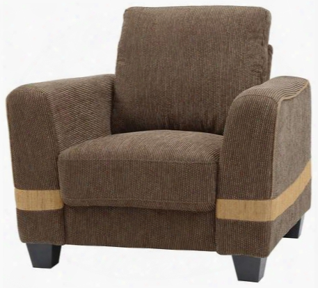 "G339-c 39"" Armchair With Pocketed Coil Foam Encased Seat Cushions Throw Pillows And Fabric Upholstery In Brown And Beige"
