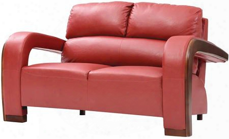 "G429-l 58"" Loveseat With Wood Trim On Arms Removable Arms Split Back Cushions And Faux Leather Upholstery In Red"