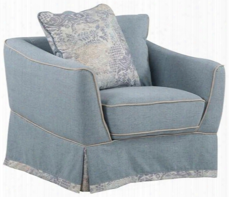 """G618-c 36"""" Armchair With Pocketed Coil Foam Encased Seat Cushion Loose Pillow Back Contrasting Welt And Knit Fabric Upholstery In Sky Blue"""