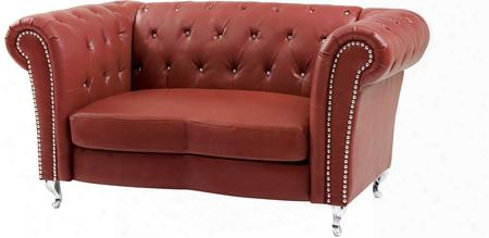 "G759-l 69"" Loveseat With Button Tufted Back Nail Head Trim Turned Feet Rolled Arms Pocketed Gather Into A ~ Seating And Faux Leather Upholstery In Red"