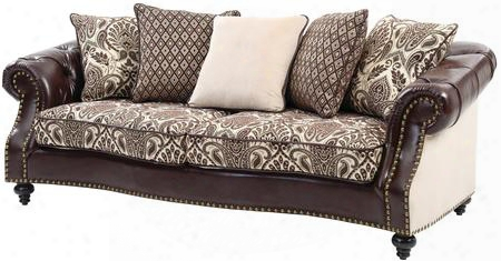 "G811-s 92"" Sofa With Tufted Details Nailhead Trim Throw Pillows Turned Wood Legs Self Welted Cushions And Faux Leather Upholstery In Dark Brown"
