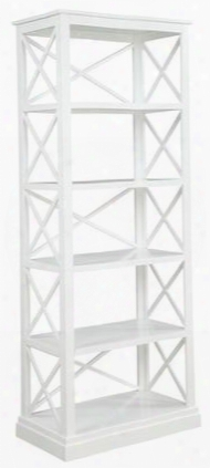 "Johansson Collection 801383 80"" Tall Bookcase With 5 Open Shelves X-design And Wood Construction In Antique White"