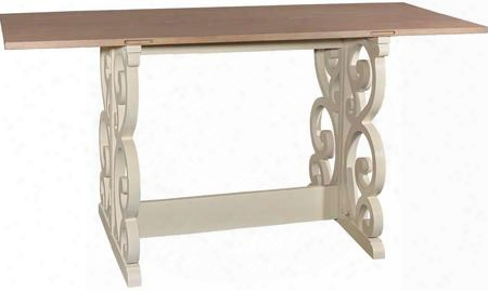 "Maya Collection D1010a16 72"" Console With Scroll Gatelog Base Birch Veneer Material And Medium-density Fiberboard (mdf) In Vanilla And Restoration"