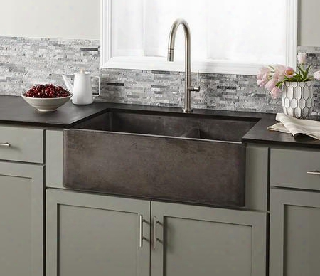 """Nativestone Kitchen Sinks Collection Nskd3321-s 33"""" Farmhouse Double Bowl Kitchen Sink With 3.5"""" Drain Lightweight Concrete Material Scratch And Stain"""