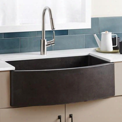 "Nativestone Kitchen Sinks Collection Nskq3320-s 33"" Farmhouse Quartet Kitchen Sink With 3.5"" Drain Single Curved-front Bowl Lightweight Concrete Material"