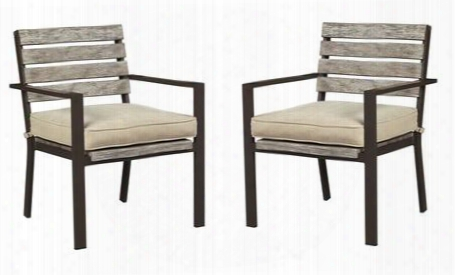 Peachstone Collection P655-601a (set Of 2) Outdoor Side Chairs With Rust Free Aluminum Frame Faux Wood Back And All-weather Nuvella Cushion In Beige And Brown