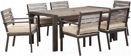 Peachstone Collection P6556257s 7-piece Outdoor Patio Set With Dining Table + 6 Side Chairs In Brown