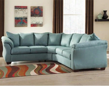 Signature Design By Ashley Darcy Fsd-1109sec-sky-gg 2 Pc Sectional With Plush Upholstered Arms Loose Seat Cushions And Microfiber Upholstery In Sky Blue
