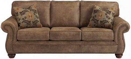 "Signature Design By Ashley Larkinhurst Fsd-3199so-ert-gg 89"" Sofa With Nailhead Trim Toss Pillows Loose Seat Cushions And Faux Leather Upholstery In Earth"