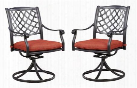 "Tanglevale Collection P557-602a (set Of 2) 37"" Outdoor Swivel Rocker Chairs With Nuvella Seat Cushion Lattice Work Back And Cast Aluminum Frame In Burnt"