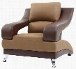 "G255-C 38"" Armchair with Chrome Feet Split Pub Back and Faux Leather Upholstery in Saddle and Dark Brown"