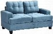 "G518A-L 58"" Loveseat with Tufted Cushions Removable Backs Removable Track Arms and Suede Fabric Upholstery in Aqua"