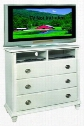 "G5975-TV 44"" Media Chest with 3 Dovetailed Drawers 2 Open Compartments Hole for Wires Turned Legs and Wood Veneer Construction in White"