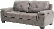 "G667-S 83"" Sofa with Padded Arms Tufted Cushions Tapered Legs and Glove Soft Top Grade ""Air"" Faux Leather Upholstery in Grey"