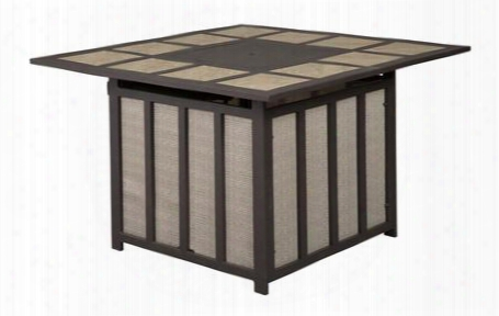 "Wandon Collection P454-772 40"" Outdoor Square Fire Pit Table With Aluminum Frame Porcelain Drop-in Tile Top 50 000 Btu Burner And Protective Polyester Cover"