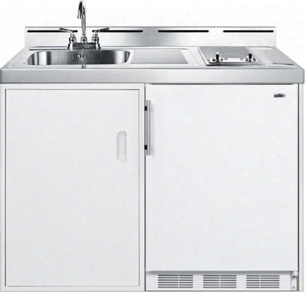 """C48elglasskit 48"""" Combo Kitchen With Ct661 5.1 Cu. Fft. Compact Refrigerator 2-burner Smoothtop Cooktop Sink And Faucet Storage Compartment And One Piece"""