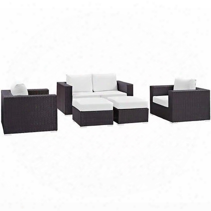 Conven Collection Eei-2158-exp-whi-set 5-piece Outdoor Patio Sofa Set With Loveseat 2 Armchairs And 2 Ottomans In