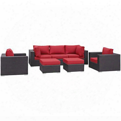 Convene Collection Eei-1808-exp-red-set 7 Pc Outdoor Patio Sectional Set With Powder Coated Aluminum Frame Washable Cushion Covers And Synthetic Rattan Weave