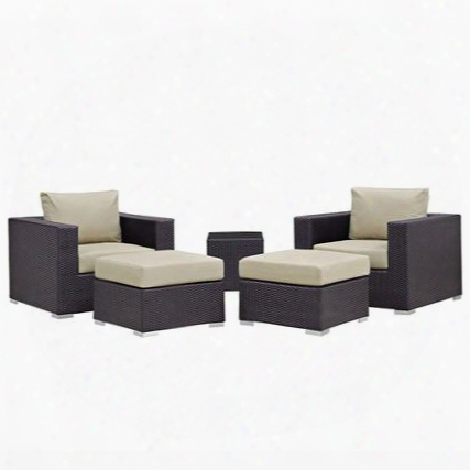Convene Collection Eei-1809-exp-bei-set 5 Pc Outdoor Patio Sectional Set With All-weather Fabric Cushions Powder Coated Aluminum Frame And Synthetic Rattan