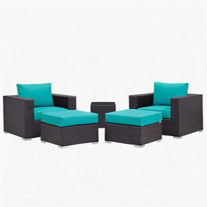 Convene Collection Eei-1809-exp-trq-set 5 Pc Outdoor Patio Sectional Set With All-weather Fabric Cushions Powder Coated Aluminum Frame And Synthetic Rattan