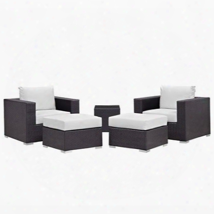 Convene Collection Eeei-1809-exp-whi-set 5 Pc Outdoor Patio Sectional Set With All-weather Fabric Cushions Powder Coated Aluminum Frame And Synthetic Rattan
