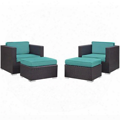 Convene Collection Eei-1810-exp-trq-set 4 Pc Outdoor Patio Sectional Set With All-weather Fabric Cushions Powder Coated Aluminum Frame And Synthetic Rattan