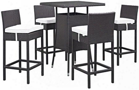 Convene Collection Eei-1963-exp-whi-set 5 Pc Outdoor Patio Pub Set With 4 Bar Stools Square Glass Top Table Powder Coated Aluminum Frame And Synthetic Rattan