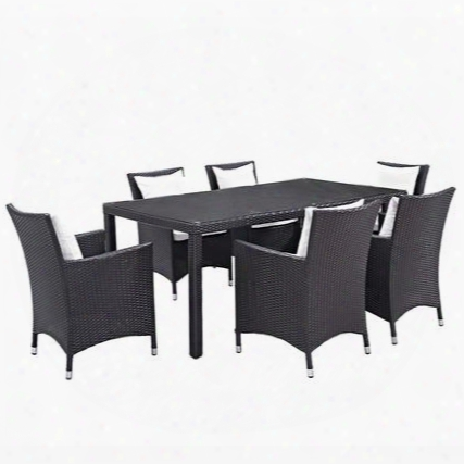 Convene Collection Eei-2199-exp-whi-set 7 Pc Outdoor Patio Dining Set With Synthetic Rattan Weave Material Powder Coated Aluminum Frame And All-weather Fabric