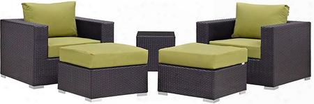 Convene Collection Eei-2201-exp-per-set 5 Pc Outdoor Patio Sectional Set With Powder Coated Aluminum Frame Washable Cushion Covers Stainless Steel Legs And