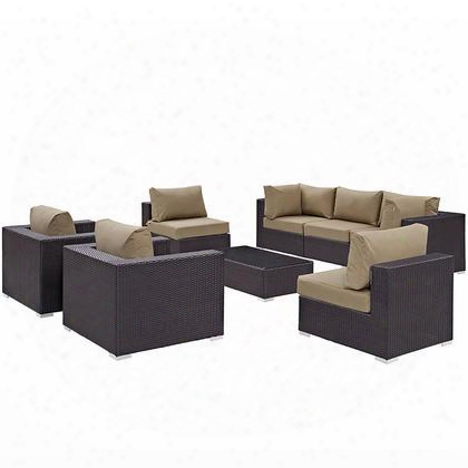 Convene Collection Eei-2203-exp-moc-set 8 Pc Outdoor Patio Sectional Set With Powder Coated Aluminum Frame Uv Resistant Weimas Fabric Outer Cover And