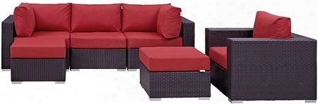 Convene Collection Eei-2207-exp-red-set 6 Pc Outdoor Patio Sectional Set With Powder Coated Aluminum Frame Waterproof Nonwoven Fabric Inner Cover And