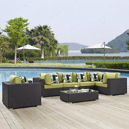 Convne Collection Eei-2350-exp-per-set  7 Pc Outdoor Patio Sectional Set With 3 Armchairs 1 Corner Chair 2 Armless Chairs 1 Glass Top Coffee Table