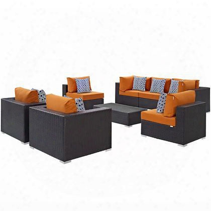 Convene Collection Eei-2368-exp-ora-set 8 Pc Outdoor Patio Sectional Set With Powder Coated Aluminum Frame Stainless Steel Legs And Synthetic Rattan Weave