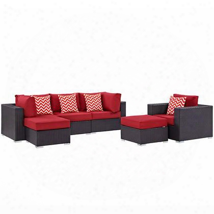 Convene Collection Eei-2372-exp-red-set 6 Pc Outdoor Patio Sectional Set With Synthetic Rattan Weave M Aterial Powder Coated Aluminum Frame Water And Uv
