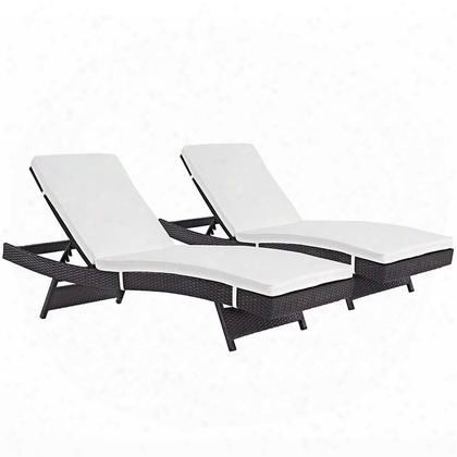 "Convene Collection Eei-2428-exp-whi-set Set Of (2) 78"" Outdoor Patio Chaise With Powder Coated Aluminum Frame Synthetic Rattan Weave And Fabric Upholstery In"