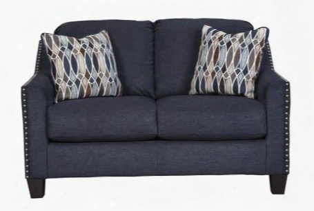 """Creeal Heights Collection 8020235 57"""" Loveseat With Sloping Track Arms Tapered Legs 2 Toss Pillows And Fabric Upholstery In Midnight Blue"""