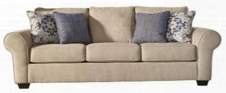 "Denitasse Collection 8490438 102"" Sofa With Rolled Arms Block Feet 4 Toss Pillows And Fabric Upholstery In"
