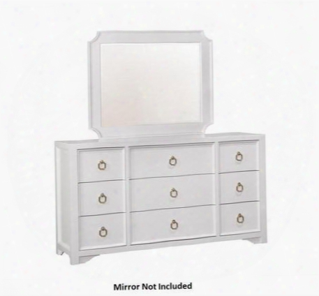 "Furiani Collection 203353 70"" Dresser With 9 Drawers Cedar Lined Bottom Drawer Metal Hardware And Poplar Wood Construction In White"