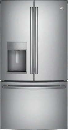 "Gfe28hskss 36"" Energy Star Rated French Door Refrigerator With 27.8 Cu. Ft. Total Capacity Twinchill Evaporators Advanced Water Filtration Turbo Cool And"