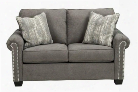"Gilman Collection 9260235 63"" Loveseat With Two Accent Pillows Chenille Upholstery And Nail-head Accents In"