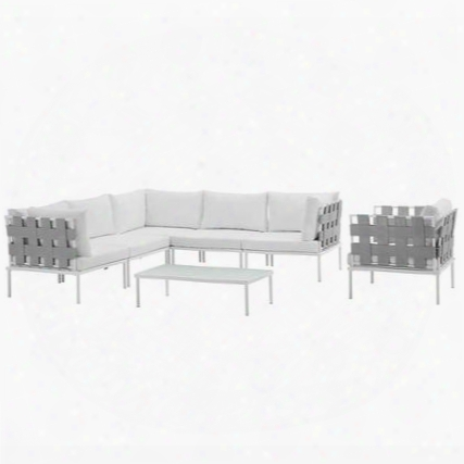 Harmony Collection Eei-2620-whi-whi-set 7-piece Outdoor Patio Aluminum Sectional Sofa Set With Armchair Coffee Table 3 Corner Sofas And 2 Armless Chairs In