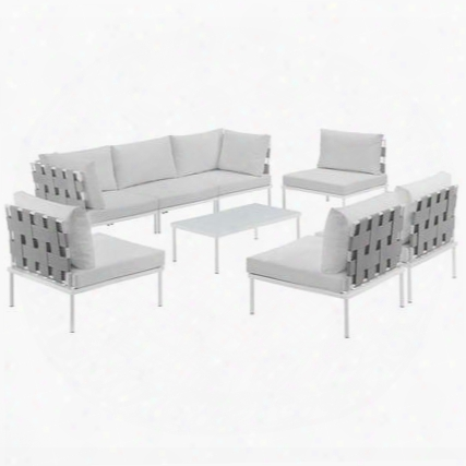 Harmony Collection Eei-2625-whi-whi-set 8-piece Outdoor Patio Aluminum Sectional Sofa Set With 5 Armless Chairs Coffee Table And 2 Corner Sofas In